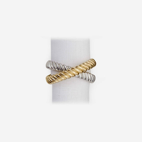 L'Objet - Deco Twist Set of 4 Gold & Platinum Napkin Rings