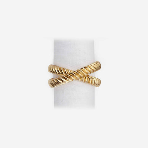 L'Objet Napkin Rings - Deco Twist Set of 4 Gold Napkin Rings