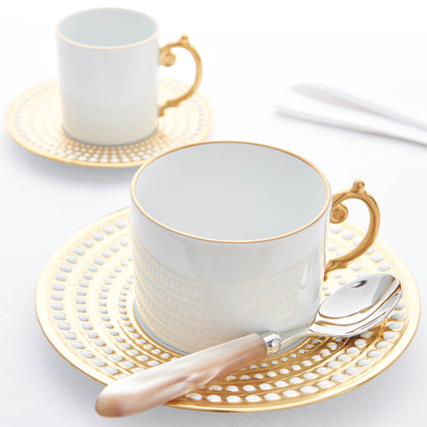 L'Objet Perlée Gold - Gift Set of Two Tea Cups & Saucers - BONADEA