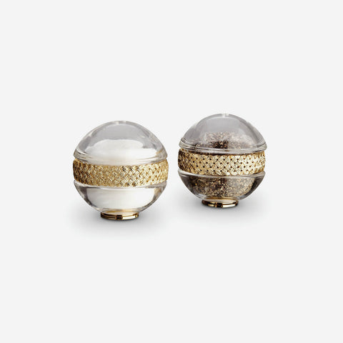 L'Objet Braid Gold Spice Jewels Salt & Pepper Set -BONADEA