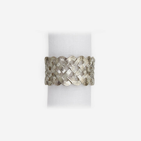 L'Objet Braid Set of 4 Platinum Napkin Rings -BONADEA