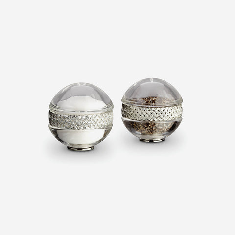 L'Objet Braid Platinum Spice Jewels Salt & Pepper Set -BONADEA