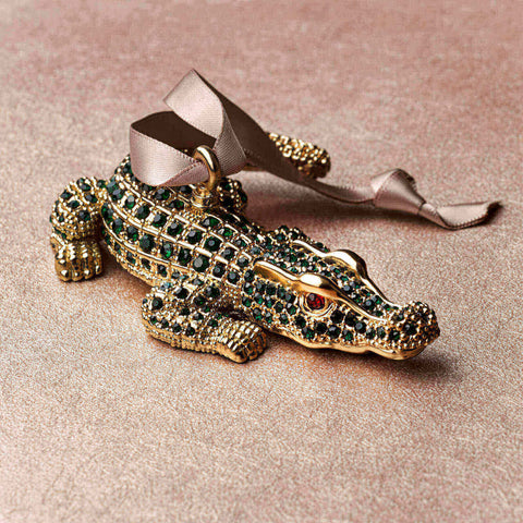 L'Objet Jeweled Crocodile Luxury Christmas Tree Decoration - BONADEA