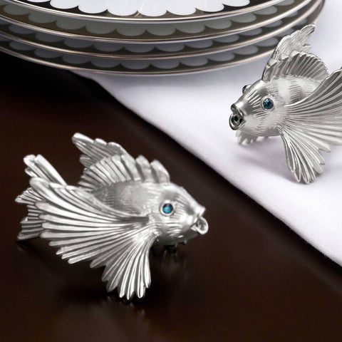 L'Objet Platinum Fish Set of 6 Place Card Holders - BONADEA