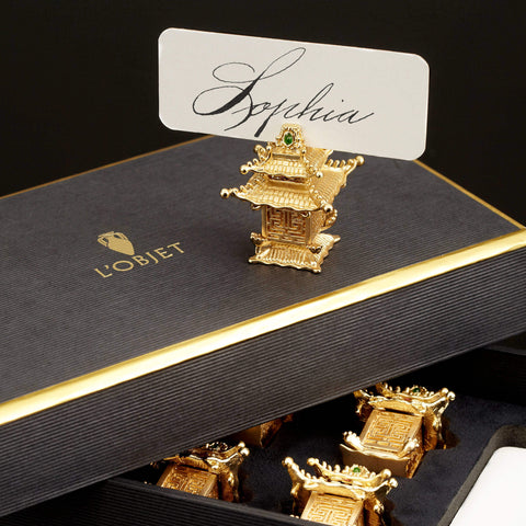 L'Objet Pagoda Set of 6 Place Card Holder