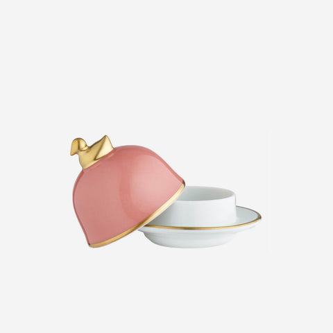 legle bright pink butter dish with gold detail bonadea
