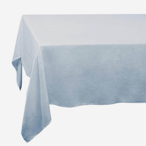 Blue Linen Sateen Tablecloth