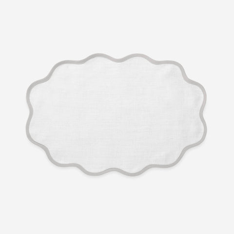 Matouk Set-of-Four Scallop Placemats - Pearl Grey