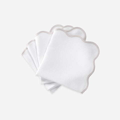 Matouk Set-of-Four Scallop Napkins - Grey