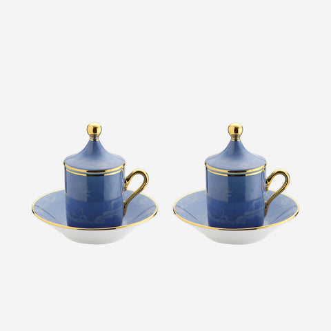 Oriente Italiano Espresso Cup with Lid & Saucer Pervinca - Set of Two