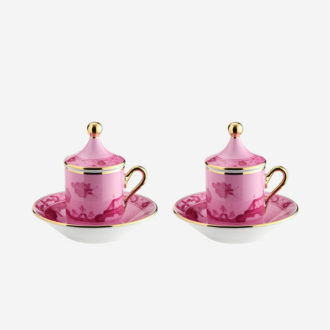 Oriente Italiano Espresso Cup with Lid & Saucer Porpora - Set of Two