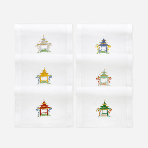 Pagoda Handembroidered Napkins - Set of Six