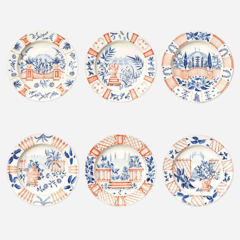 Bonadea Laboratorio Paravicini Set of Six Italian Views Dinner Plates