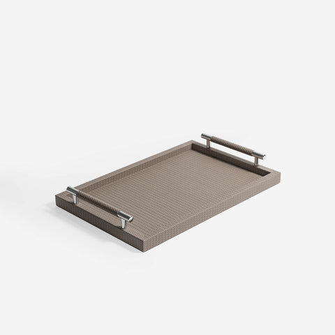 Pinetti Tray | Dedalo Rectangular Leather Tray with Handles - Taupe