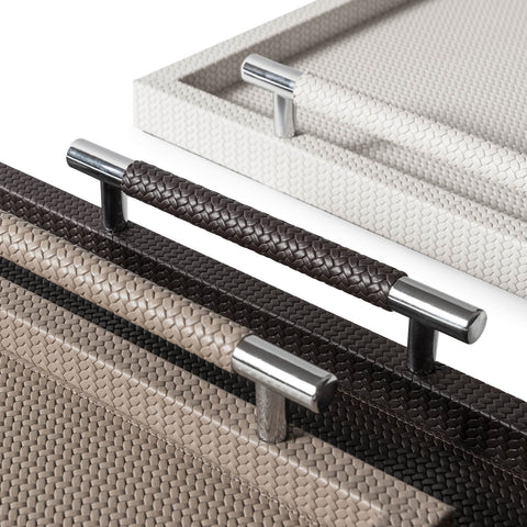 Pinetti Tray | Dedalo Square Leather Tray with Handles - Ivory