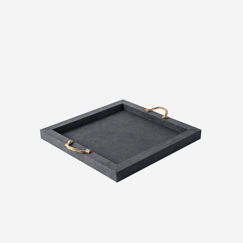 Thalia Square Leather Tray Navy Blue
