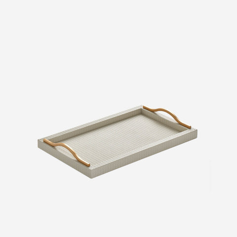 Pinetti - Onda Rectangular Leather Tray Ivory