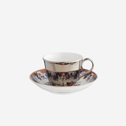 Richard Brendon Reflect Platinum Teacup & Saucer -BONADEA