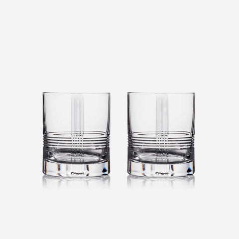 Rogaska Crystal Mercer Set of Two Double Old Fashioned Tumblers
