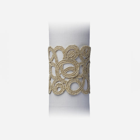 Weissfee Florence Gold Lace Napkin Ring