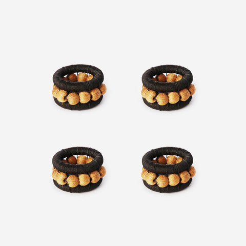 Charlie Sprout Berry Set of 4 Napkin Rings Black & Ochre