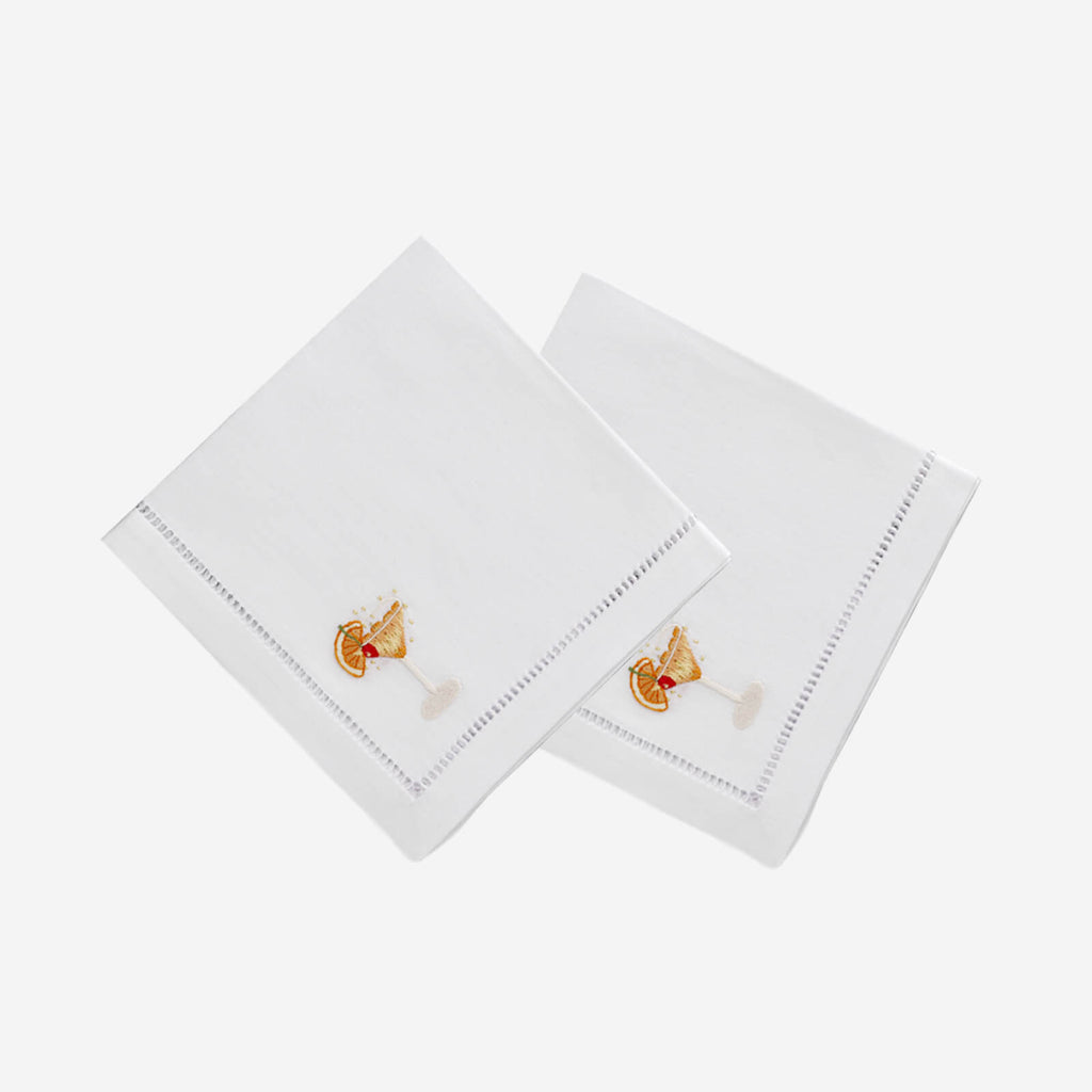 Set Of Two Martini Hand Embroidered Cocktail Napkins
