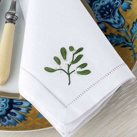 Sibona Mistletoe Hand Embroidered Dinner Christmas Napkins - BONADEA