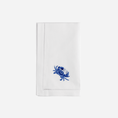 Sibona Marina Blue Hand-embroidered Dinner Napkin - BONADEA