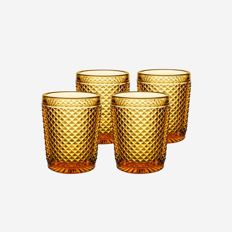 Vista Alegre Criss Cross Set of Four Amber Tumblers - BONADEA