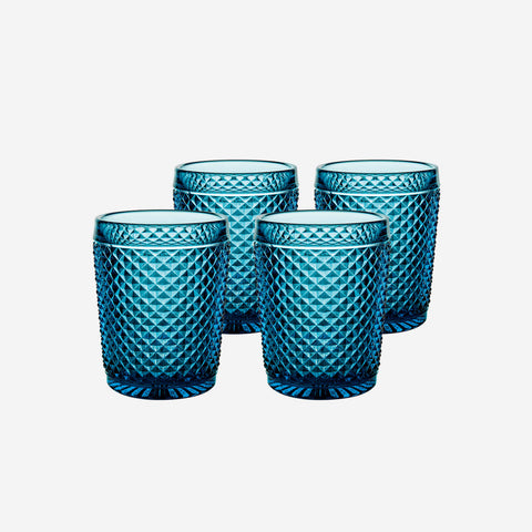 Vista Alegre Criss Cross Set of Four Midnight Blue Tumblers - BONADEA