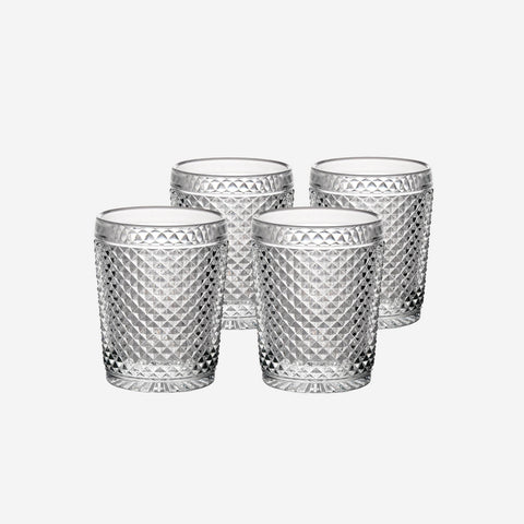 Vista Alegre Criss Cross Set of Four Clear Tumblers - BONADEA