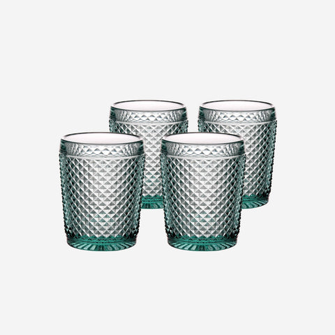 Vista Alegre Criss Cross Set of Four Mint Green Tumblers - BONADEA