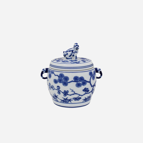 Vista Alegre - Cobalt Blue & White Foo Dog Lidded Jar - BONADEA