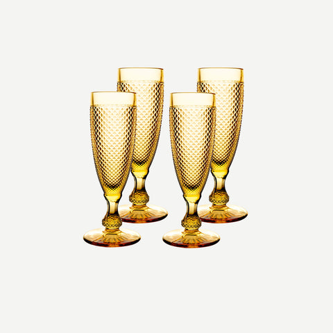 Vista Alegre Criss Cross Set of Four Amber Champagne Flutes - BONADEA