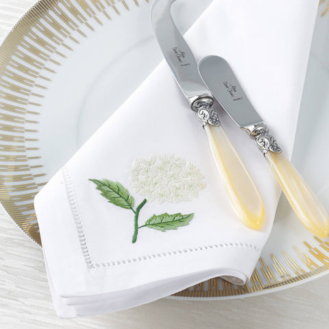 Sibona White Hydrangea Hand-embroidered Dinner Napkins - BONADEA