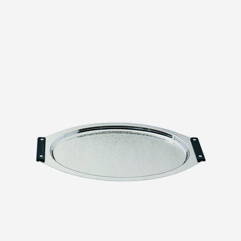 Zanetto | Ebony Silver Plated Oval Serving Tray