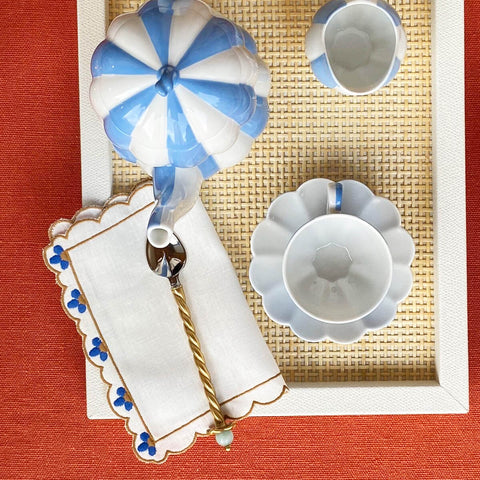 Set of Four Blue Flower Cocktail Napkin