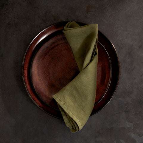 Set of Four Olive Linen Sateen Napkins