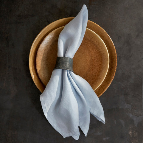 Set of Four Blue Linen Sateen Napkins