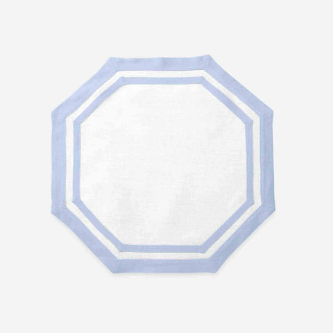 Set of Four Octagon Placemats Ice Blue