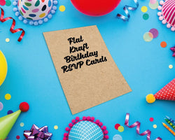 Flat Kraft Birthday RSVP Cards