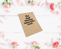 Flat Kraft Wedding Information Cards