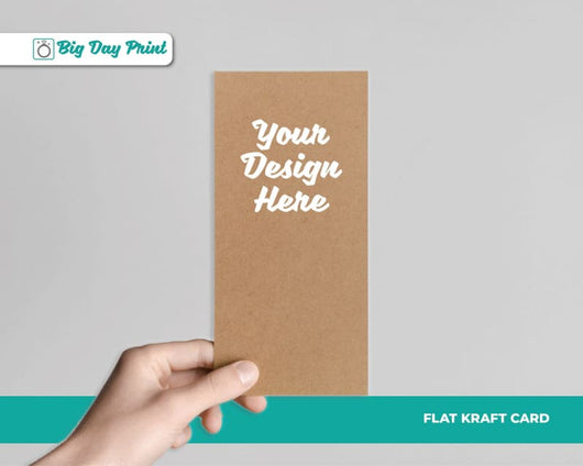 Flat Kraft Wedding Invitations - DL / No Lamination