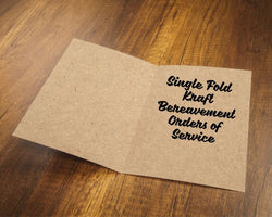 Single Fold Kraft Bereavement Orders of Service