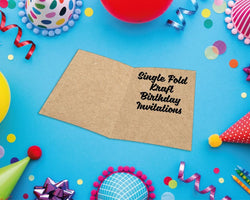 Single Fold Kraft Birthday Invitations