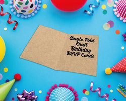 Single Fold Kraft Birthday RSVP Cards
