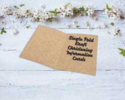 Single Fold Kraft Christening Information Cards