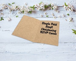 Single Fold Kraft Christening RSVP Cards