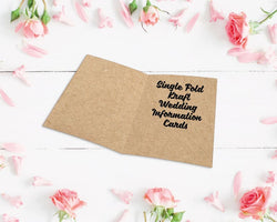 Single Fold Kraft Wedding Information Cards