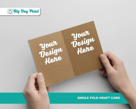 Single Fold Kraft Wedding Information Cards - DL / No Lamination